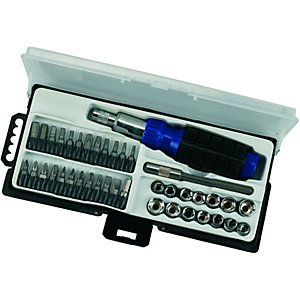 Wickes Ratchet Screwdriver & Bit Set 40 Piece