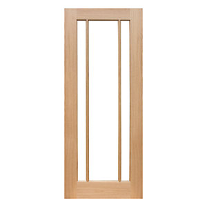 Wickes York Internal Oak Veneer Door Glazed 3 Panel 1981x686mm