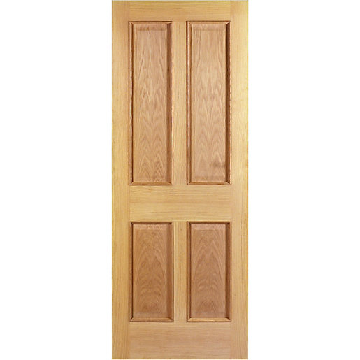 Wickes denham internal fire door oak veneer 4 panel for Door viewer wickes