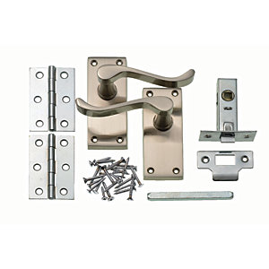 Wickes York Victorian Scroll Latch Handle Set Satin Nickel Finish