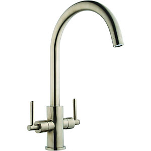 Wickes Chanab Mono Mixer Kitchen Sink Tap Brushed Stainless Steel