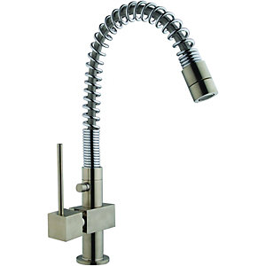 Wickes Corley Single Lever Kitchen Sink Tap Brushed Chrome