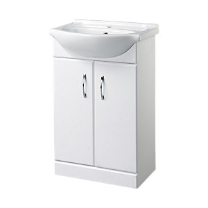 Wickes Regular Vanity Unit Gloss White 525mm