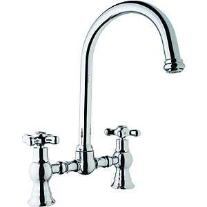 Wickes Yukon Bridge Kitchen Sink Mixer Tap Chrome