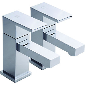 Wickes Kubic Basin Taps Chrome