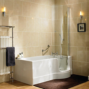 Wickes Canberra Easy Access Bath Left Hand White 1700mm