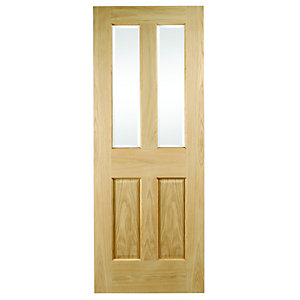 Wickes Cobham Internal Oak Veneer Door Glazed 4 Panel 1981 x 838mm