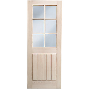 Wickes Geneva Internal Oak Veneer Door Glazed 5 Panel 1981x762mm