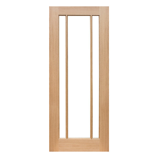 wickes york internal oak veneer door glazed 3 panel. Black Bedroom Furniture Sets. Home Design Ideas