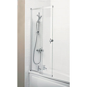 Wickes Sliding Bath Screen Silver Effect Frame