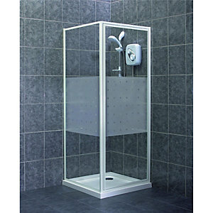 Wickes Pivot Frosted Shower Enclosure Door & Side Panel White Frame 760mm