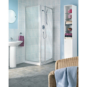 Wickes Pivot Shower Enclosure Door & Side Panel Silver Effect Frame 760mm