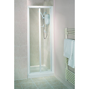 Wickes Bi-fold Shower Enclosure Door White Frame 760mm