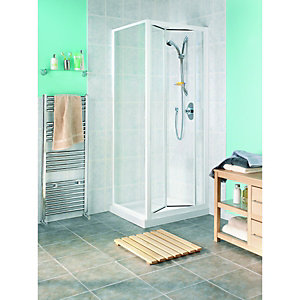 Wickes Bi-Fold Shower Enclosure Door & Side Panel White Frame 760mm