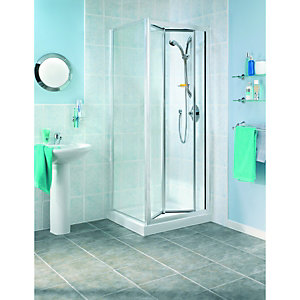 Wickes Bi-fold Shower Enclosure Door & Side Panel Silver Effect Frame 760mm