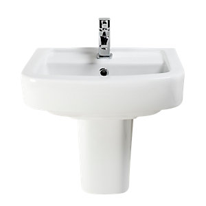 Wickes Capri Thin Basin with Semi Pedestal 450mm