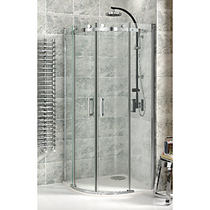 Wickes Quadrant Frameless Roller Enclosure Chrome 900mm