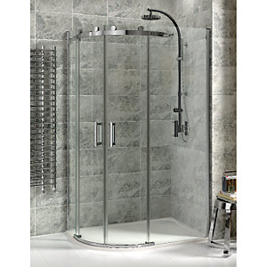 Wickes Offset Quadrant Frameless Roller Enclosure Chrome 1200x900mm