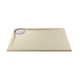 Wickes 25mm Cast Stone Resin Ultra Low Profile Rectangular Shower Tray Left Hand Tan 1200x800mm