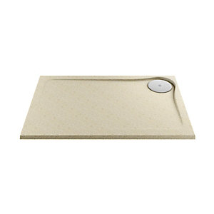 Wickes 25mm Cast Stone Resin Ultra Low Profile Rectangular Shower Tray Right Hand Tan 1200x800mm