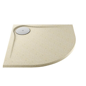 Wickes 25mm Cast Stone Resin Ultra Low Profile Quadrant Shower Tray Tan 900mm