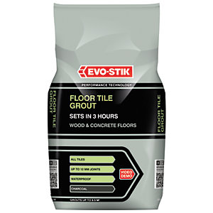 Evo-Stik Tile A Floor Fast Set Grout Charcoal 5kg