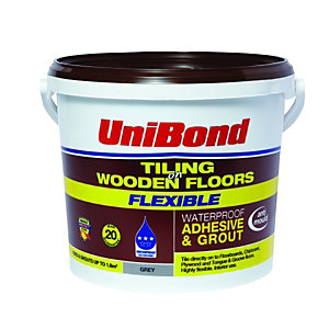 UniBond Tiling On Wooden Floors Waterproof Adhesive & Grout Grey 5L