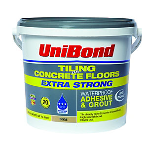 UniBond Tiling On Concrete Floors Waterproof Adhesive & Grout Beige 5L