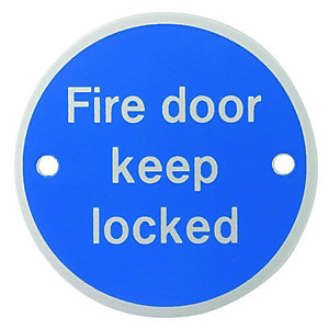 Wickes FD115 Fire Door Keep Locked Sign Satin Anodised Aluminium 75mm