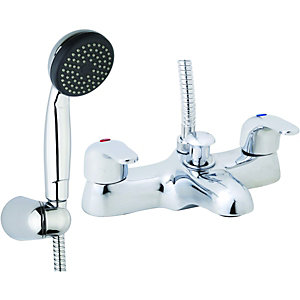 Wickes Rhine Bath Shower Mixer and Basin Tap Pack Chrome