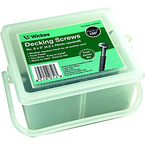 Wickes Decking Screws No.8 x 76mm Pack 150