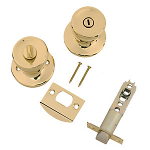Wickes Privacy Knob Set Brass Finish