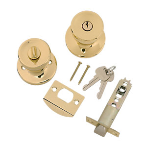 Wickes Entrance Knob Set Brass Finish