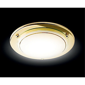 Wickes Geneva Flush Ceiling Light Brass