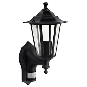 Wickes 60W PIR Wall Lantern Black