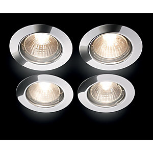 Wickes Halogen Fixed Downlight Chrome 4 Pack