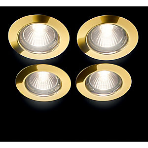 Wickes Halogen Fixed Downlight Brass 4 Pack