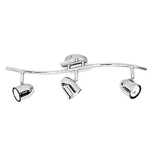 Wickes Aurora Spotlights Chrome 3 Bar