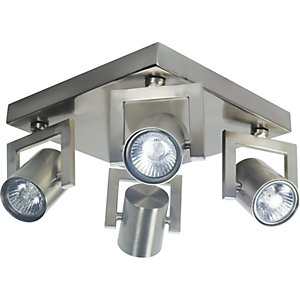 Wickes Kronos Spotlights Brushed Chrome 4 Plate