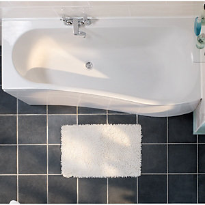 Wickes Aswan Offset Bath Left Hand White 1700mm