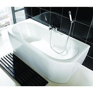 Wickes Blend D-Shaped Bath White 1700mm