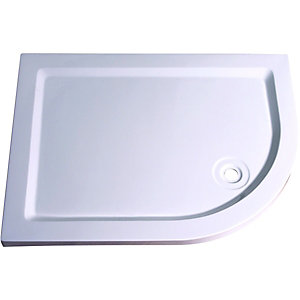 Wickes 40mm Stone Resin Offset Quadrant Shower Tray Left Hand White 1200x900mm