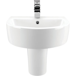 Wickes Style Basin with Semi Pedestal 500mm