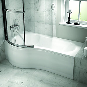 Wickes Misa Undrilled Bath Left Hand White 1700mm