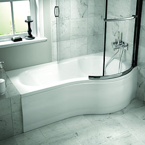 Wickes Misa Undrilled Bath Right Hand White 1700mm