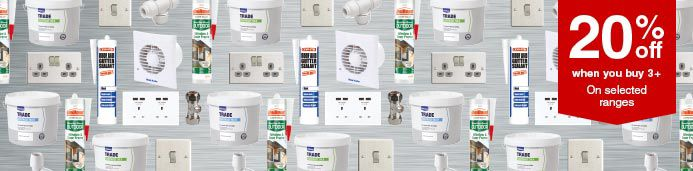 Shop all Switches, Sockets, Sealants, Plumbing Fittings & 15L Trade Paint