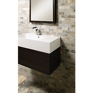 Wickes Silver Grey Trav Brick Mosaic Tile (48 x 98mm) 305 x 305mm