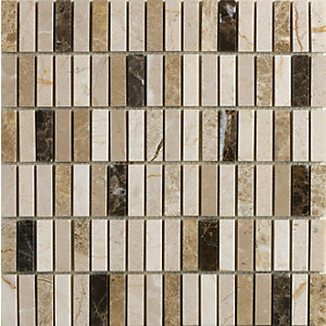 Wickes Emperador Mix Polished Mosaic Tile (15 x 50mm) 305m x 305mm