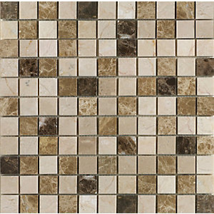 Wickes Emperador Mix Polished Mosaic Tile (25 x 25mm) 305 x 305mm