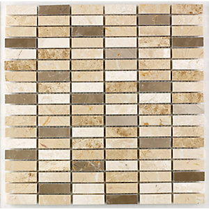 Wickes Milano Mix Polished Mosaic Tile (15 x 50mm) 305 x 305mm